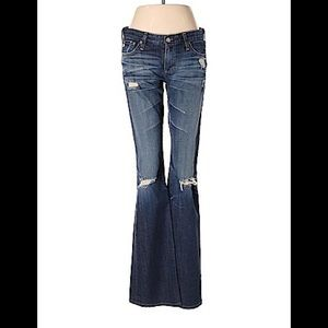 AG Adriano Goldschmied distressed flare hem jeans